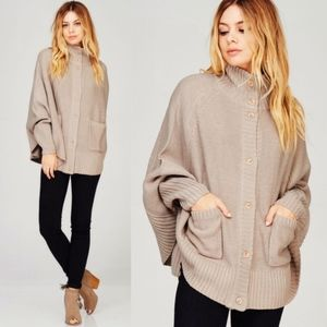 GWENN Button Poncho Sweater Top - TAUPE