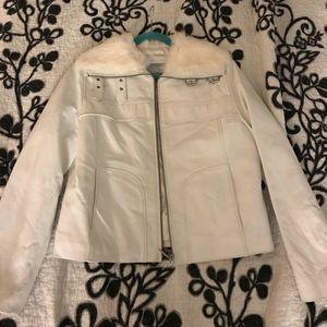 Wilson leather jacket coat L white rabbit fur