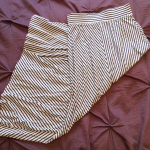 Blue & White Striped Maxi Skirt