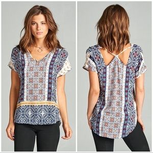 Cross Back V-Neck Relax Fit Top NWT