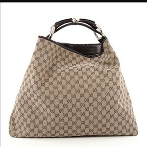 Gucci Canvas Large Horsebit Hobo Bag