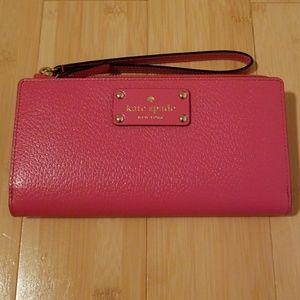 Kate Spade bright pink large wallet/wristlet