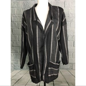 Vintage Long Gray Striped Open Hipster Blazer