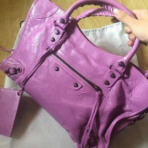 Balenciaga Classic City Lambskin Tote Bag, Rose