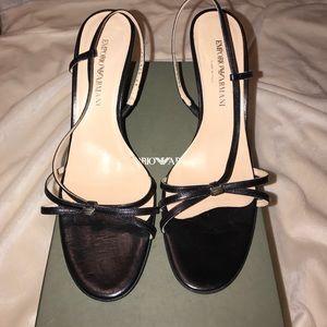 Emporio Armani. Black heel sandal.