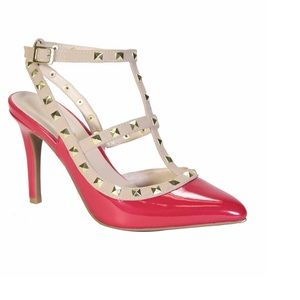 🆕Bamboo Rock Studded Red Patent T-Strap Pump