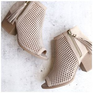 Shoes - New light taupe vegan suede peep toe booties