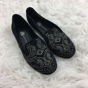 Rock & Republic Black Sequin Slip On Loafers