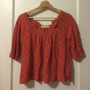 Red-orange lace top