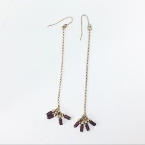 Jewelry - Simple hanging brown + gold chain earrings