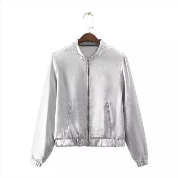 7a6775f0 Zara Jackets & Coats | Metallic Silver Bomber Jacket | Poshmark