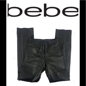 Bebe Leather Pants Straight Leg Size 2