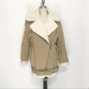 Zara Faux-Shearling Motorcycle Jacket