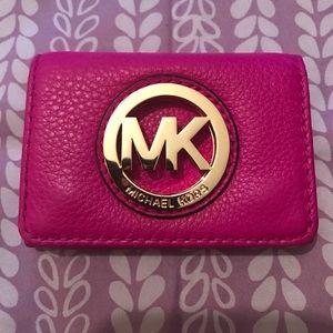 MK fuschia Soft leather ID Holder