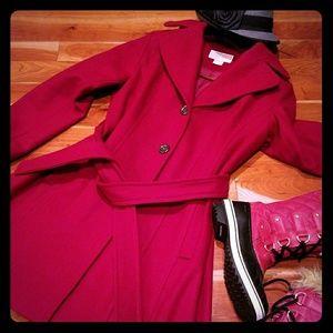 Michael Kors Red Pea Coat Trench