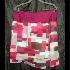 DvF silk tiered asymmetrical skirt Sz 12