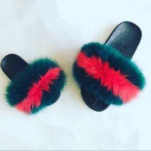 Other - Fox Mink fur slide shoes