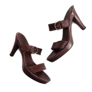 coach • brown leather heels