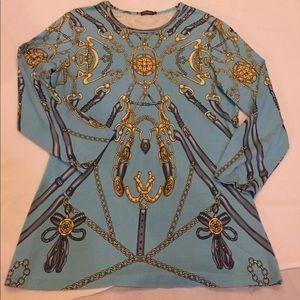 J. McLaughlin silk knit equestrian theme top Med