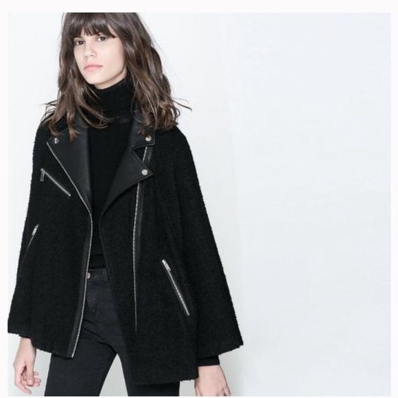 0d1c45b0 Zara Jackets & Coats | Biker Leather Cape Coat | Poshmark