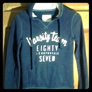 Navy blue aeropostale pullover hoodie with white l