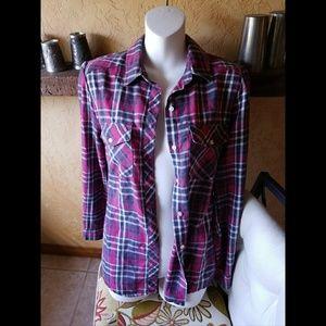 Charlotte Russe Medium Pink/White/Gray Flannel