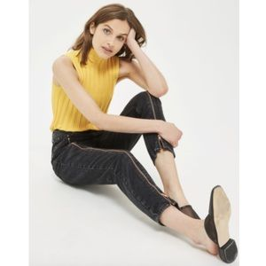 NWT MOTO Exposed Zipper Black Washed Mom Jeans