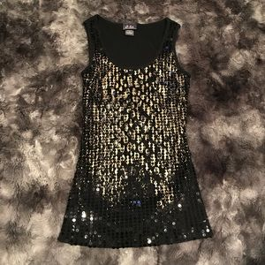 Small black & gold sequin tank top by Dots