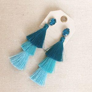 Anthropologie sea green tassel layer earrings