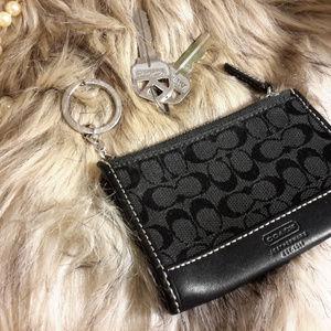 Coach Monogrammed BLACK Card Case & Key ring