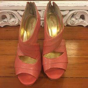 Seychelles wedges pink and wood