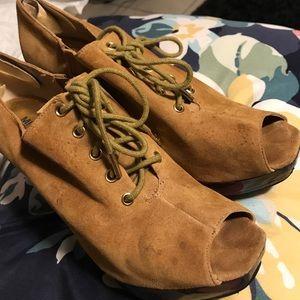 Michael Kors Lace Up Peep Toe Suede Booties
