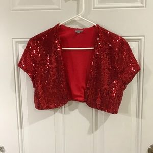 Red Gold Glitter Bolero by Charlotte Russe