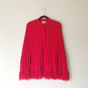 Vintage • cabled fringe cape