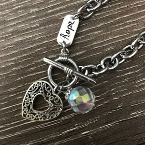 Jewelry - Hope Chain Link Heart Pendant Bracelet
