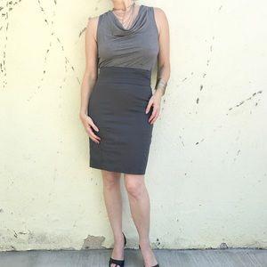 H&M GRAY PENCIL SKIRT dark high waist cummerbund 6