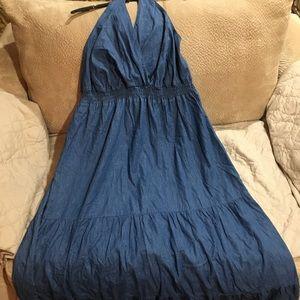 Avenue New Blue Jean Maxi Halter Dress w/elastic