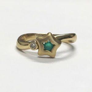 Emerald & Diamond 14K Gold Star Ring