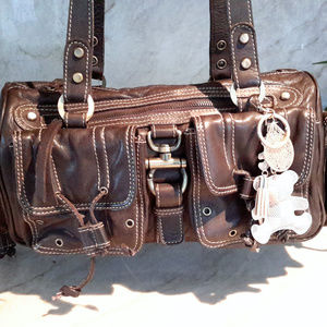 Michael Rome Brown Leather Bag wTeddy Charm