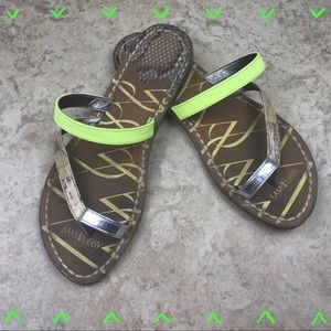 EUC Sam & Libby tan & neon green gladiator sandals