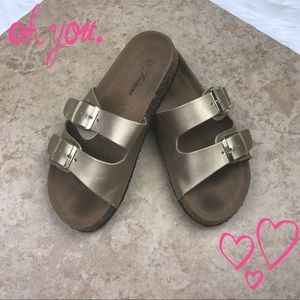 Forever 21 Gold and tan slip on gladiator sandals