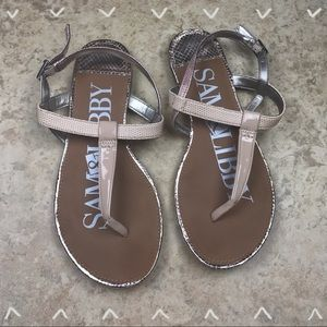 Sam & Libby pink and silver sandals size 6.5
