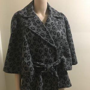 Elegant Chic Belted Leopard Print Cape Jacket