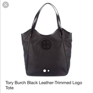 Authentic Tory Burch Leather Trimmed Logo Tote