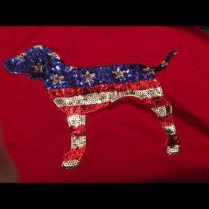 PiNK America Bling NWT Sequin dog on back   XS.