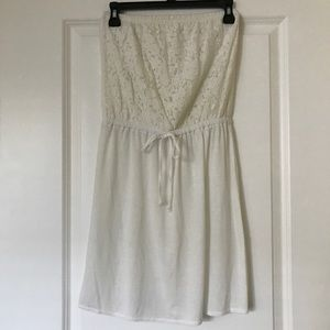 Xhilaration White Strapless Dress (Size Small)