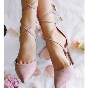 Light pink pointy strapped heels
