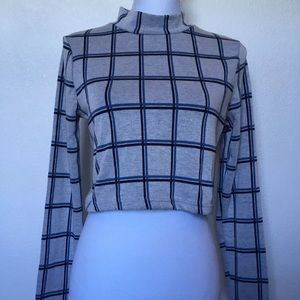 TOPSHOP Plaid Cropped Long Sleeve Top