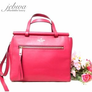KATE SPADE FUSCHIA LEATHER MEDIUM SATCHEL BAG