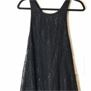 Black racerback dress with beaded detail